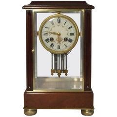 French Belle Epoque Mahogany Four Glass Mantel Clock