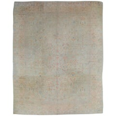 Antique Oushak Carpet, Oriental Rug, Handmade Pale Green, Soft Pink and Ivory