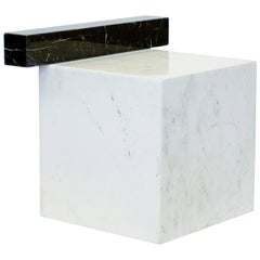 Stool in Italian Black and White Marble. Monolito, Limited Edition