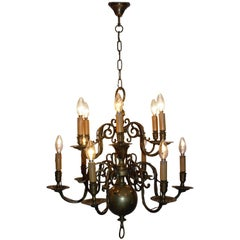 Antique Dutch Brass Baroque Chandelier, France, Late 19th Century