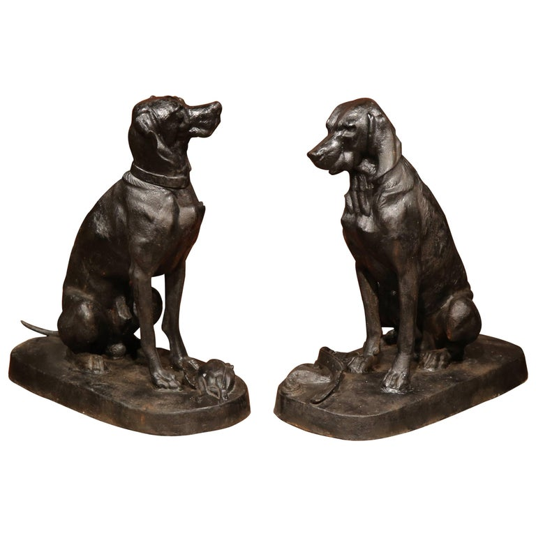 Pair of Lifesize French Iron Hunting Labradors Retrievers after Jacquemart