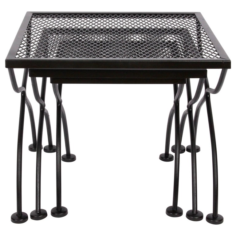 Set of Three Russell Woodard Black Iron Stacking Tables