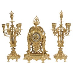 Large and Stunning Gilt Bronze Clock Set with Visible Pendulum