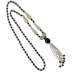 Victorian Frosted Glass and Black Jet Beaded Lariat Necklace
