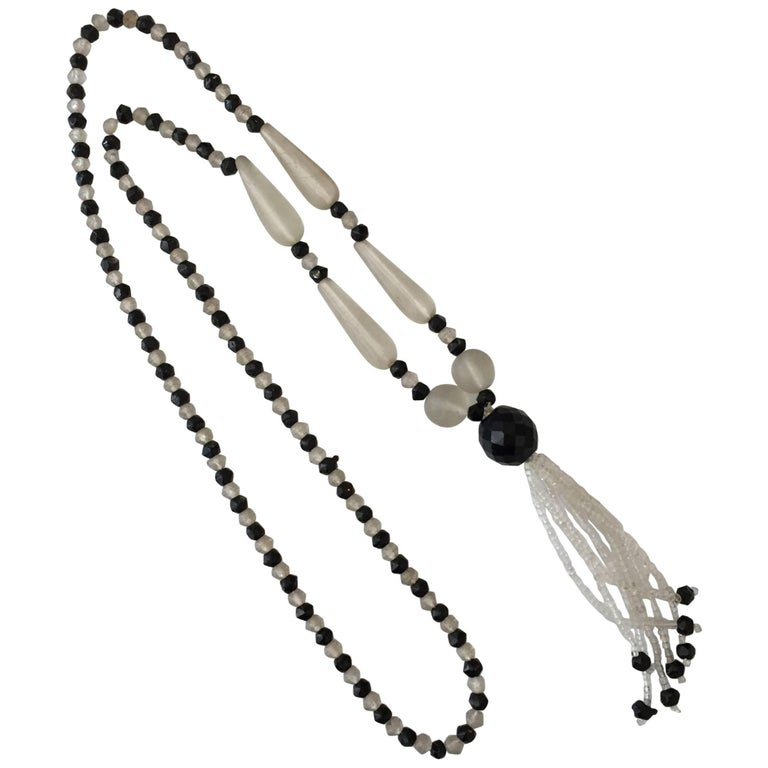 1960c3380a76 Victorian Frosted Glass and Black Jet Beaded Lariat Necklace For Sale