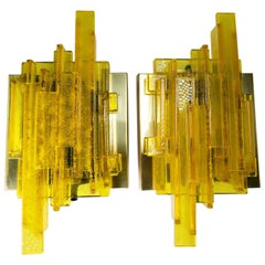 Pair of Claus Bolby Danish Space Age Yellow Acrylic Wall Lights, 1970s