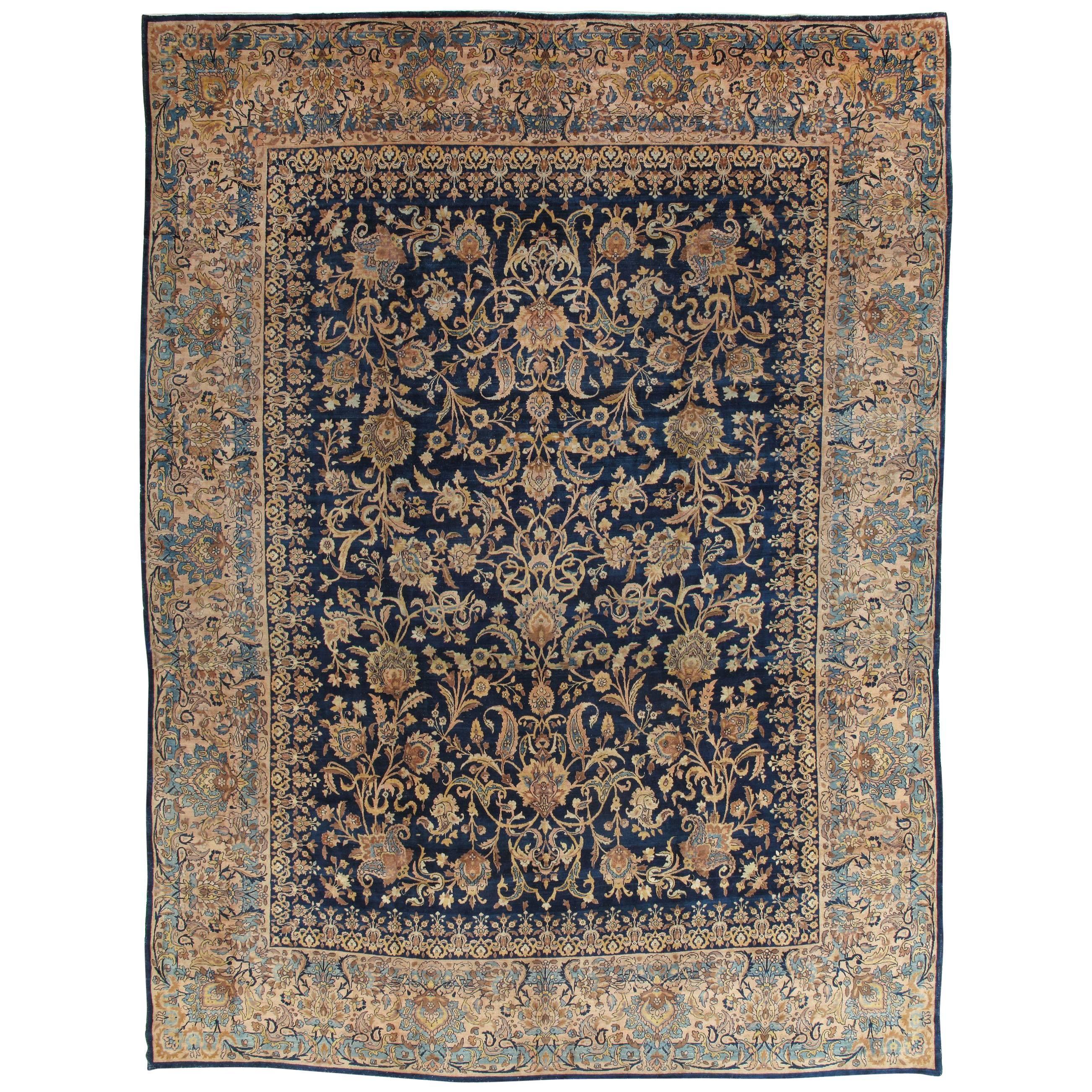 Antique Kerman Carpet, Handmade Persian Rug Wool Carpet, Navy, Gold, Ivory