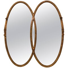 Hollywood Regency Gilt Braided Rope Edge Double Mirror