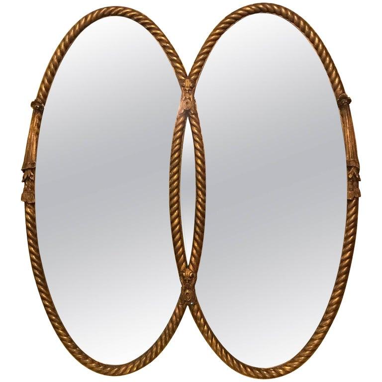Hollywood Regency Gilt Braided Rope Edge Double Mirror