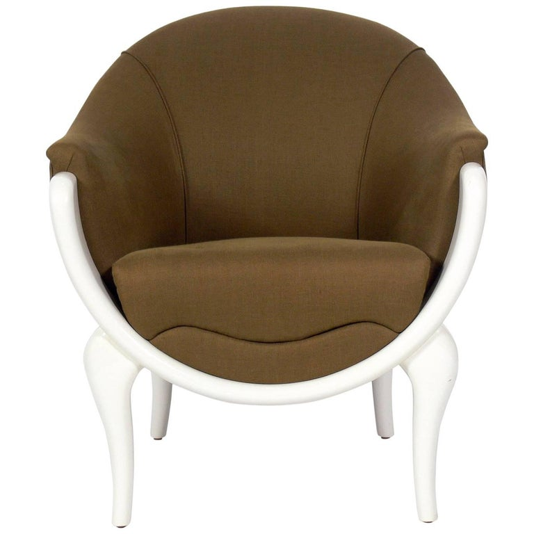 Curvaceous White Lacquer Lounge Chair By Lewis Mittman At