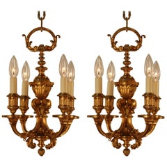 1920s French Bronze Chandelier