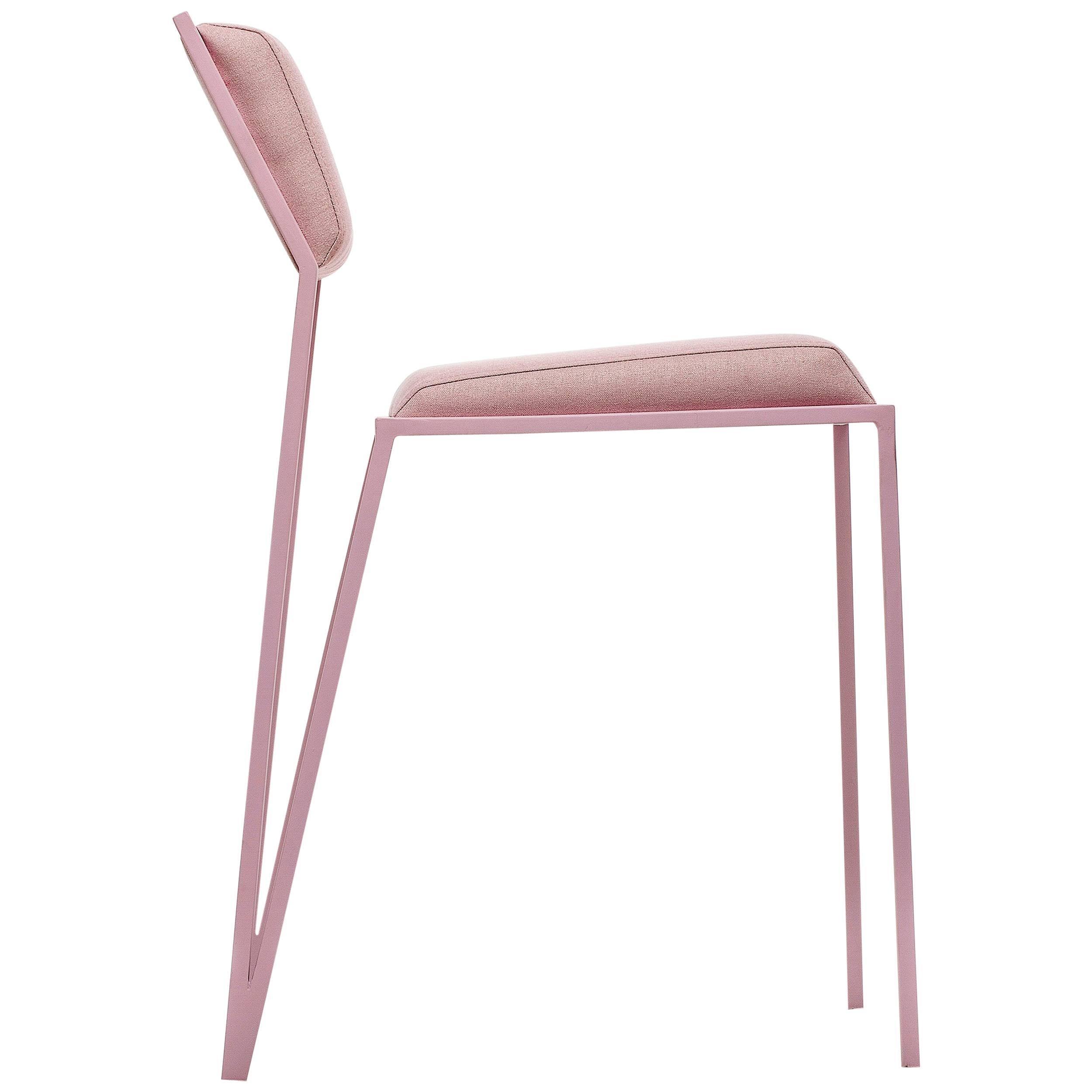 Minimalist Chair In Steel, Brazilian Contemporary Style