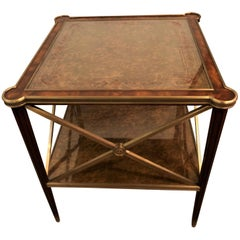 Hollywood Regency Bronze Decorated End Table X-Base Sides Tortoise Glass Top