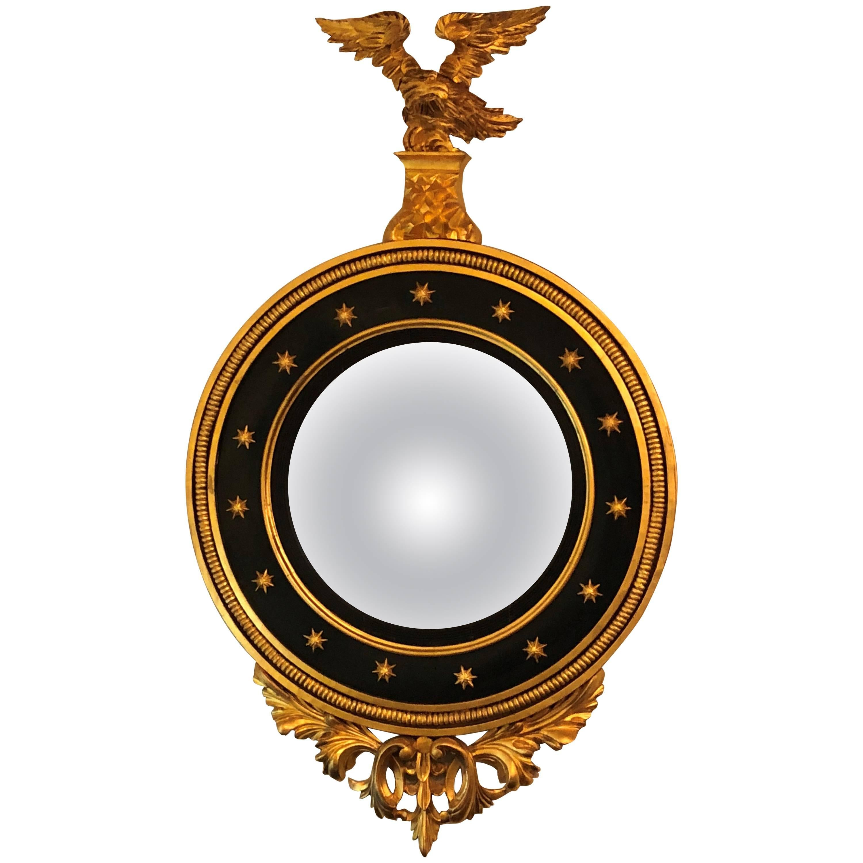 Late 19th Century Regency Carved and Ebonized Giltwood Bullseye Convex Mirror