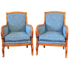 Louis-Philippe Period Bergeres Armchairs in Fruitwood