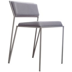 Minimalist Chair in Steel, Brazilian Contemporary Style