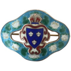 Sterling Guilloche Enamelware Brooch, France