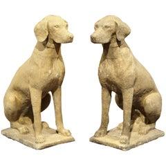 Large Pair of French Concrete Verdigris Patinated Labrador Dog Sculptures