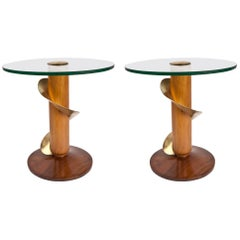 Pair of Mid-Century Modern Teak and Brass Side Tables