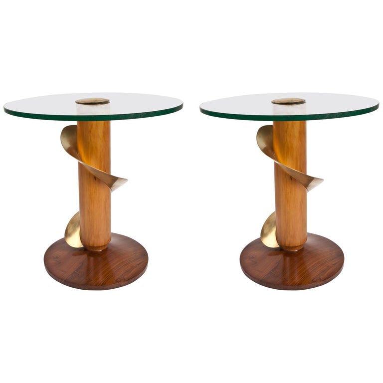Pair of Mid-Century Modern Teak and Brass Side Tables For Sale