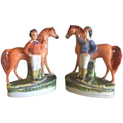 Pair of 19th Century Porcelain Horse & Rider/Jockey Figurines by Staffordshire