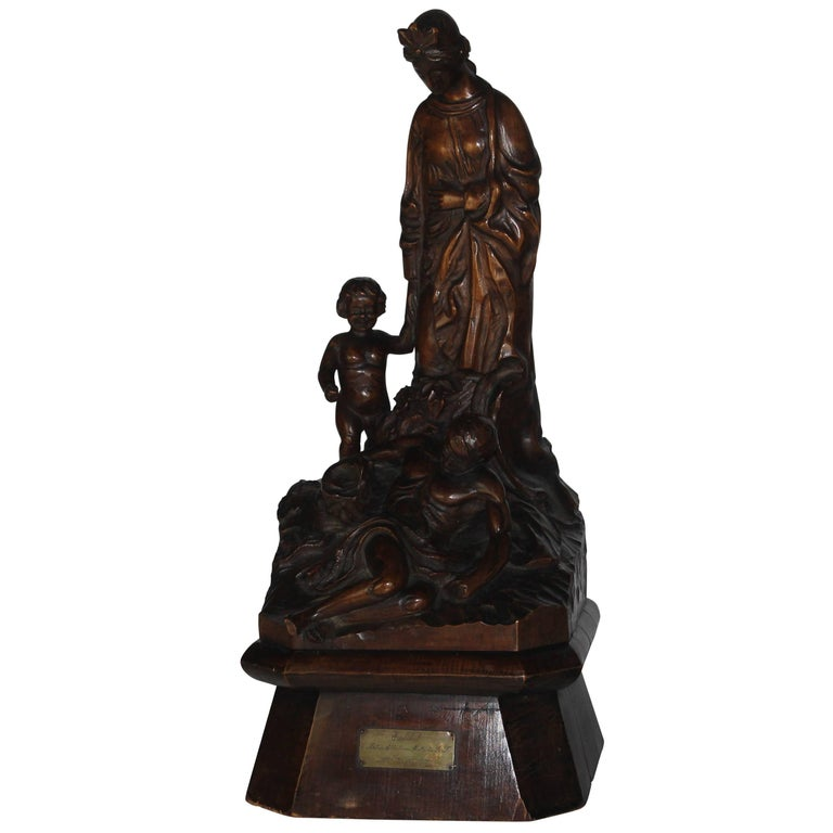19th Century Italian Wood Carved Statue