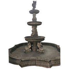 Enormous Hand-Carved Antique Limestone Fountain, circa 1850
