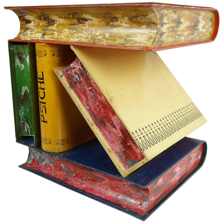 Italian Stacked Book Form Side Table, circa 1950  For Sale