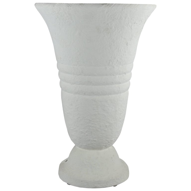 Large Art Deco White Plaster Cast Floor Lamp, 1940s