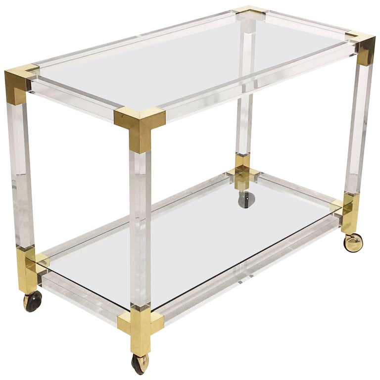 French Drinks Cart Trolley or Bar Cart of Lucite, Brass and Glass