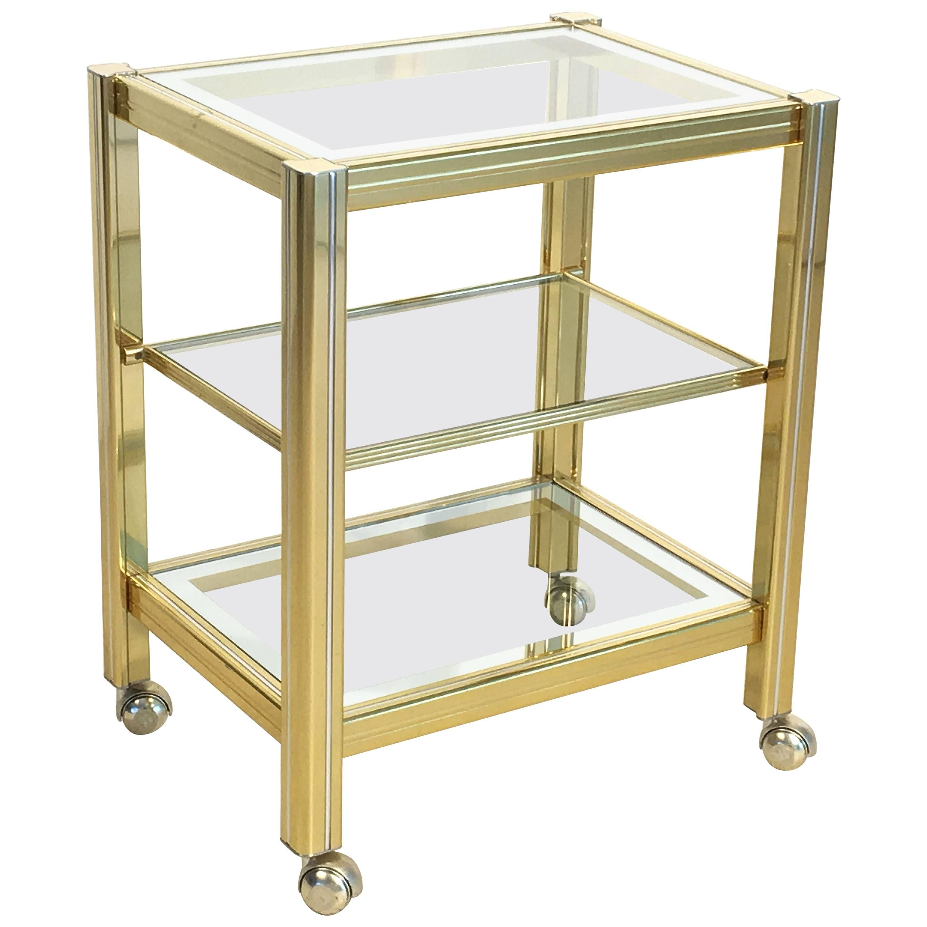 Italian Drinks Cart Trolley or Bar Cart of Brass and Glass
