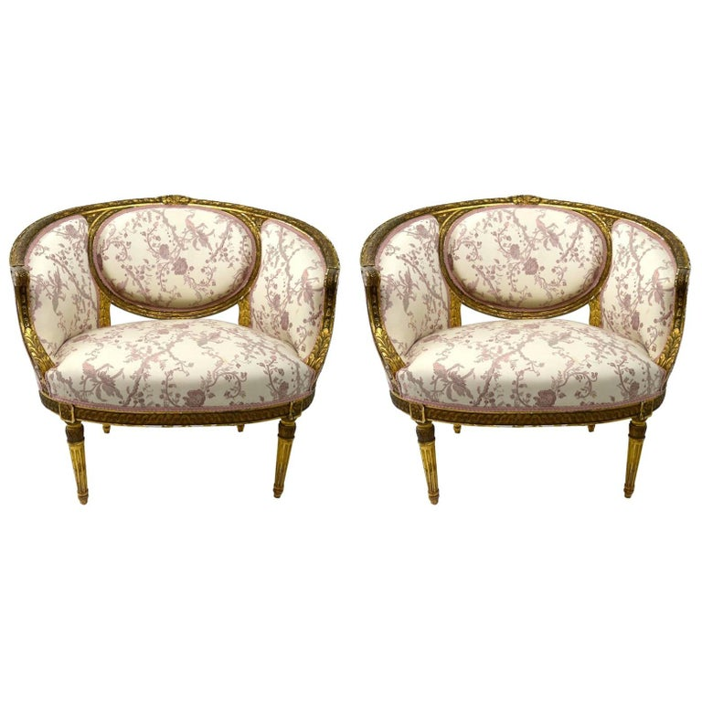 Pair of gilt salon chairs for sale at 1stdibs for Salon sofa for sale