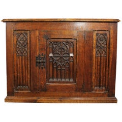 Gothic Revival Armoire with an Oak Door