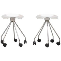 "Pair of Small ""Jamaica"" Rolling Stools by Pepe Cortes"
