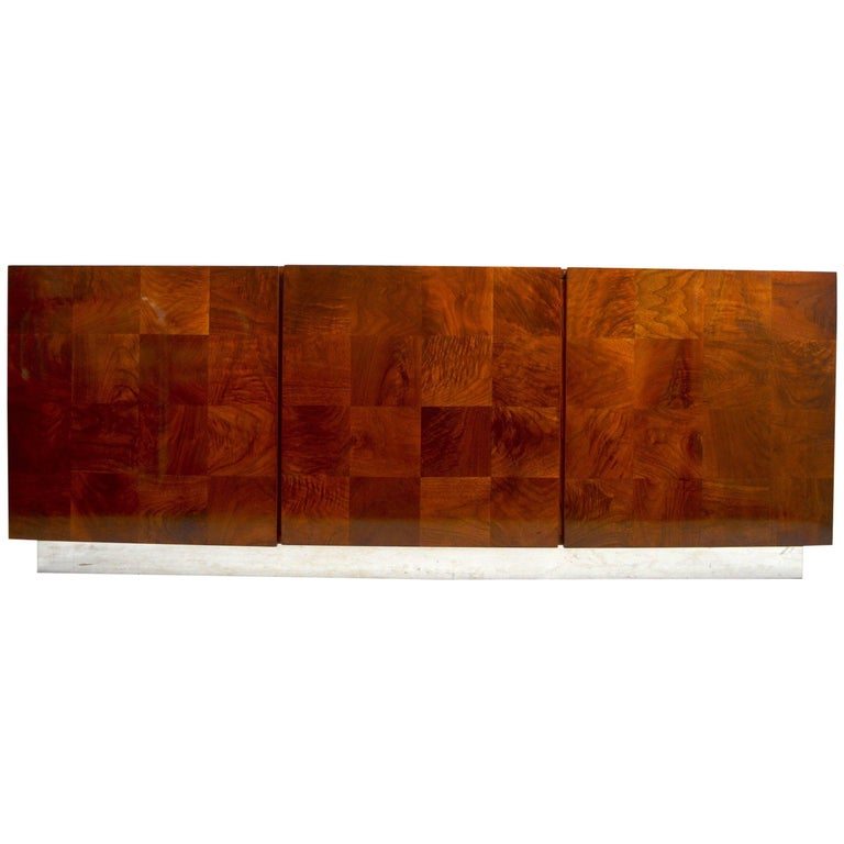 Baughman Credenza Server Sideboard Patchwork Veneer on Bright Chrome Plinth  For Sale