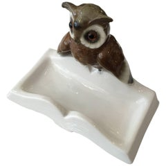 Hand-Painted Figurine Porcelain Owl on Book Ring Tray, Germany