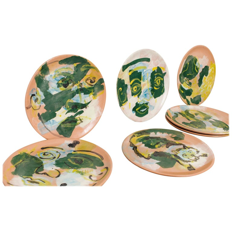 Majolica Potter Plate Set Handmade Mid-Century Modern Green Yellow Blue Face  For Sale