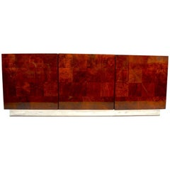Classic Baughman Credenza, Server Sideboard with Patchwork Veneer