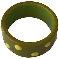 Green and Yellow Polka Dot Celluloid Bakelite Bangle or Cuff Bracelet