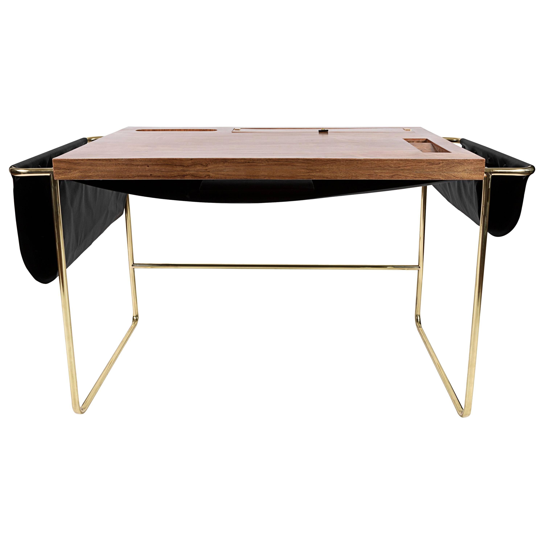 Casablanca Brass, Mexican Walnut and Black Leather Desk / Nomade Atelier Design