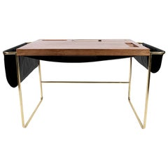 Casablanca Brass, Mexican Walnut and Black Leather Desk / Nomade Atelier Design