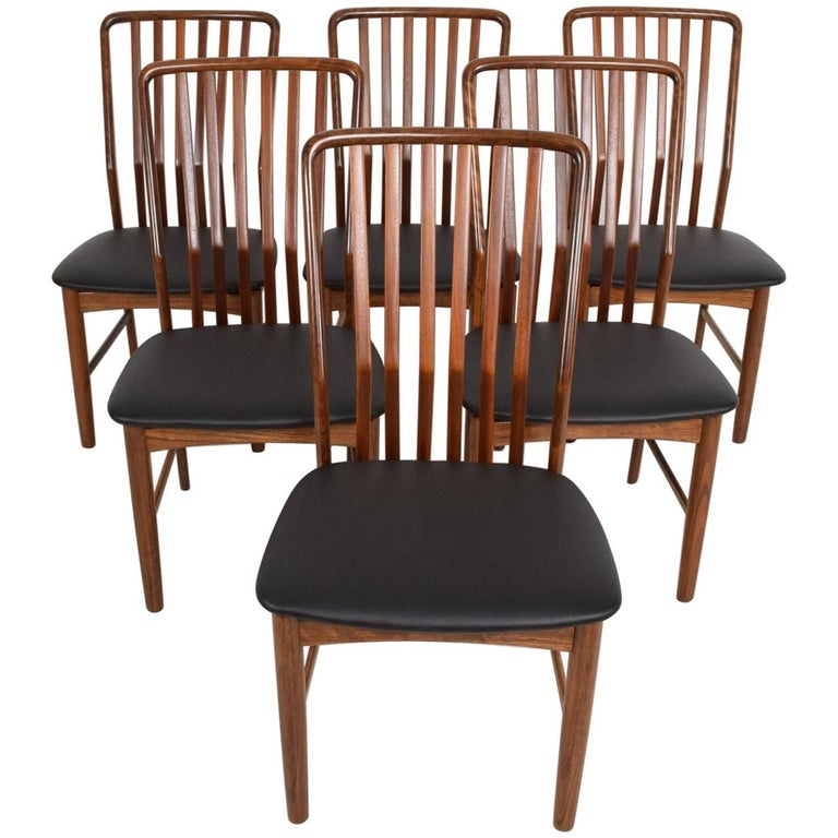 Midcentury Danish Modern Set of Six Dining Chairs by Moreddi, Tiger Wood