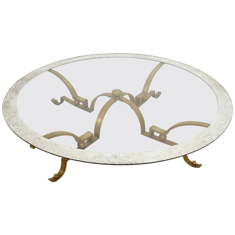Arturo pani round cocktail table solid brass with large for Large glass top coffee table