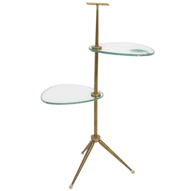 Mid-Century Modern Italian Side Table Brass and Glass after Fontana Arte