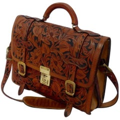 Outstanding tooled leather briefcase by Alfonso Gun and Holster Hollywood