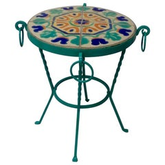 Wrought Iron California Tile-Top Table