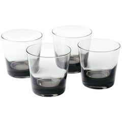 Set of Four Mid-Century Modern Smoked Grey Barware Glasses