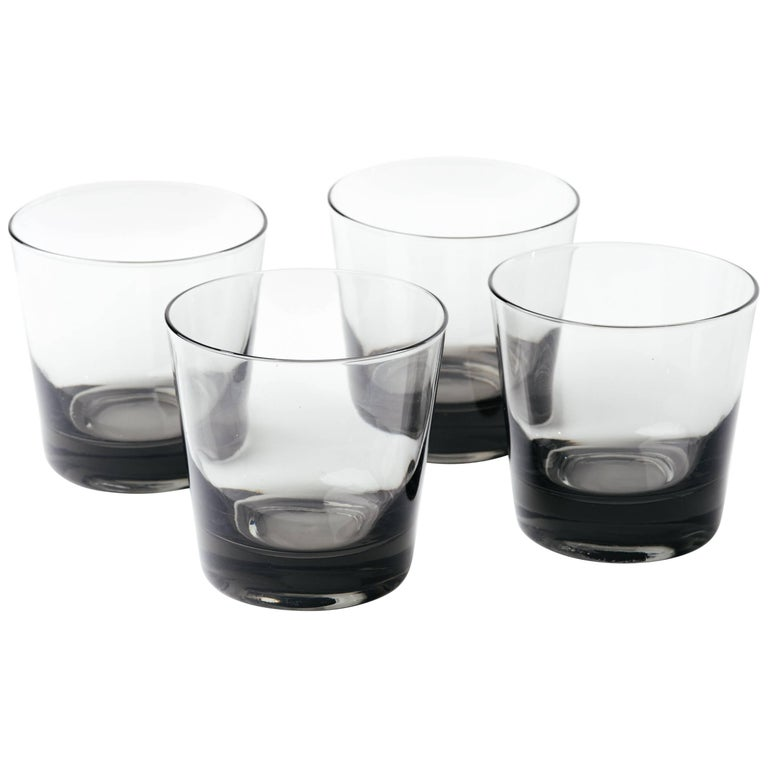 Set of Four Mid-Century Modern Smoked Grey Barware Glasses For Sale