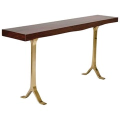 French-Polished Console in Antique Hardwood with Bronze Base by P. Tendercool