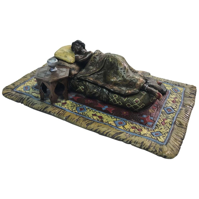 Erotic Austrian Cold Painted Bronze Figure For Sale